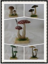 wooden name card holder cardcase Mushroom