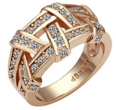 18K Real Gold Plated Unique Rhinestone Zircon Nets Fashion Jewelry Wide Band Finger Ring