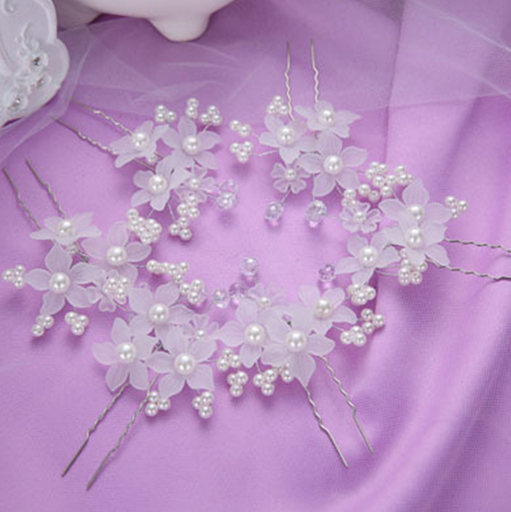 Fashion Hot Selling Handmade Flower Wedding Jewelry Crystal Imitation Pearl Bridal Hair Sticks