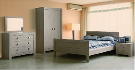 Country Style Gray Wood Bedroom Sets (bed, dresser, wardrobe)