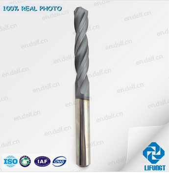 Solid carbide inner coolant hole drill bit with TiAlN coating