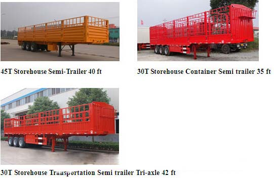 Hot Sale Sinotruk 30T Storehouse Transportation Semi trailer Tri-axle 42 ft