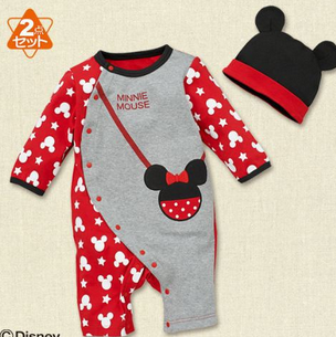Mickey 100% cotton long sleeve baby rompers and hat with cute ear