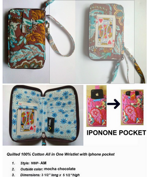 QUILTED COTTON ALL IN ONE WRISTLET WITH BIG PHONE POCKET