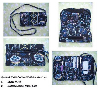 QUILTED COTTON WALLET WITH REMOVABLE STRAP CROSS-BODY
