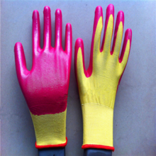 Safety protective cheap work nitrile gloves red