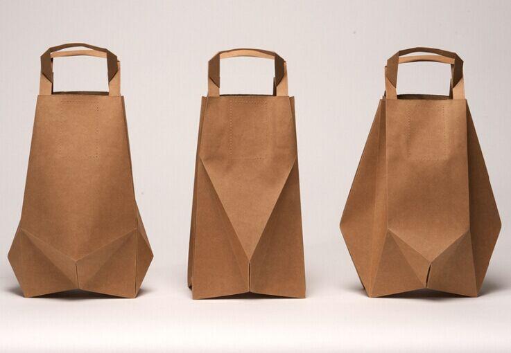 threek raft paper bags in one group