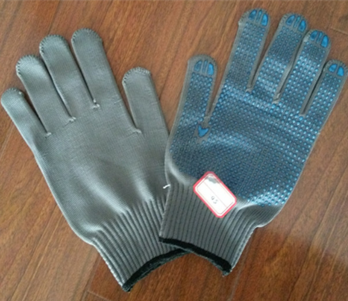One side black pvc dotted cotton gloves