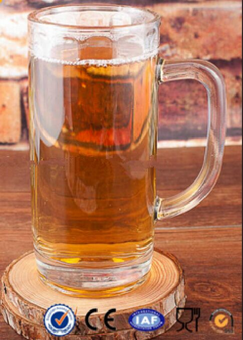 Clear Glass Beer Mug With Handle 376ml