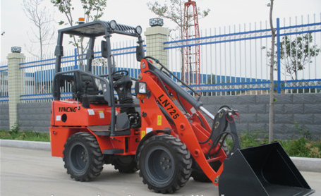 Shan dong yineng loader First class hot sale LN 725 mini wheel loader 0.25cbm bucket capacity adopt Perkinsengine 18.5kw/2800rpm