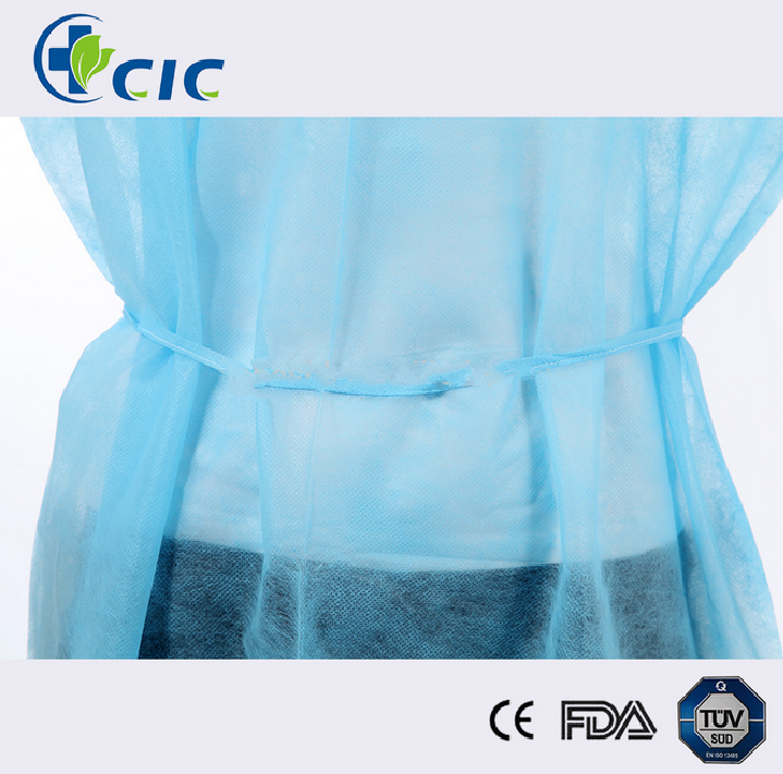 Wholesale yellow environmental PP non-woven disposable isolation gown