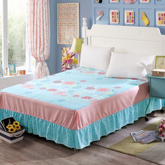 2015new higher quality 100% cotton wholesale cotton print brand fitted bed skirt set