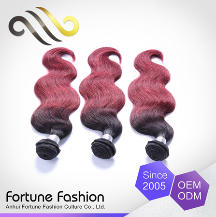 New fashion colored two tone hair weave, body wave ombre hair weaves, brazilian human hair weave