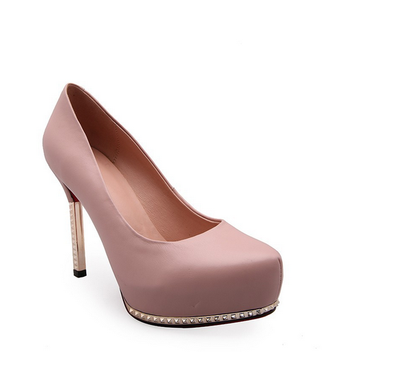 autumn aexy laides spring high thin heel genuine leather pumps inside pig leather women shoes