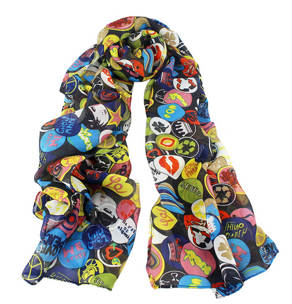 New Fashion Cheap Wholesale Colorful Printed Chiffon Woman Scarf
