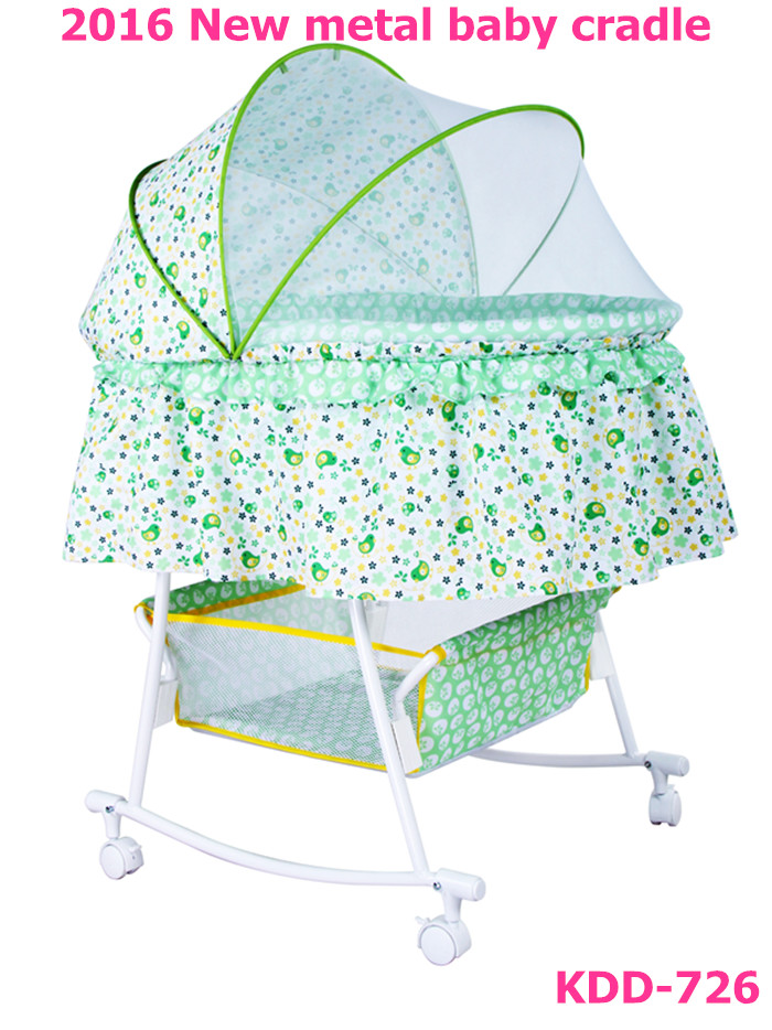 2016 new desigh metal swing bed baby bassinet TC fabric with mosquito net