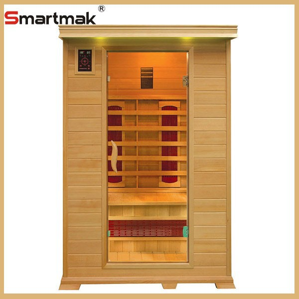 2015 Smartmak new style 1-6 person hemlock wooden indoor sauna cabin ceramic heater far infrared sauna room