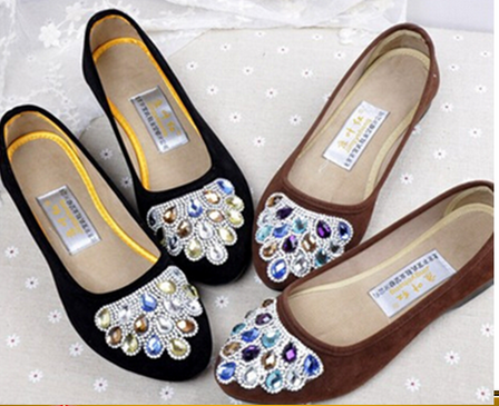 Diamond Casual Ladies Flat Shoes shallow mouth single work shoes