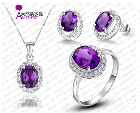 2015 New Wholesale Jewelry Luxury Natural Amethyst Set Made With 925 Sterling Silver