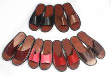 Black cool design wholesale genuine leather men indoor outdoor slippers