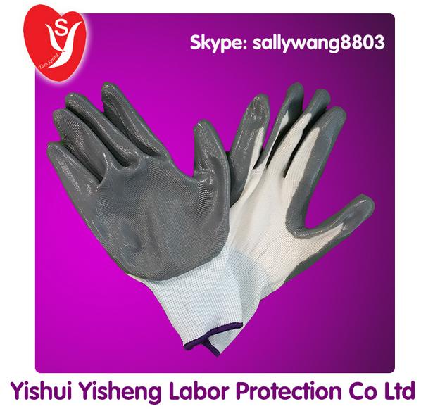 13 Gauge Polyester Liner Nitrile Palm Coated Gloves