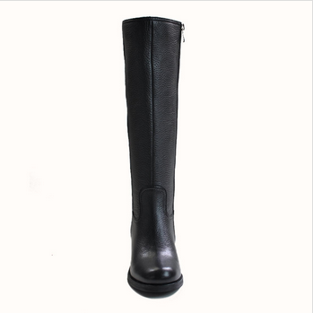 MK001-17 Leather Horse Boots Black Woman Flat Knee Boots In Bulk