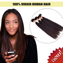 Top quality virgin brazilian silky straight remy human hair weft