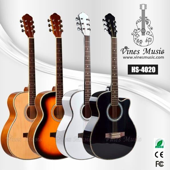 HS-4020 40'high-gloss celluloid binding beginner acoustic guitar China musicial instrument manufactory