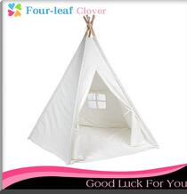 6' Canvas Teepee With Carry Case - Customizable Canvas Fabric - (White)