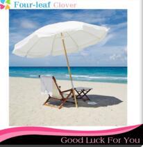 7.5 ft. Teakwood Wood Pole Fiberglass Vented Outdoor Beach Sunshade Umbrella