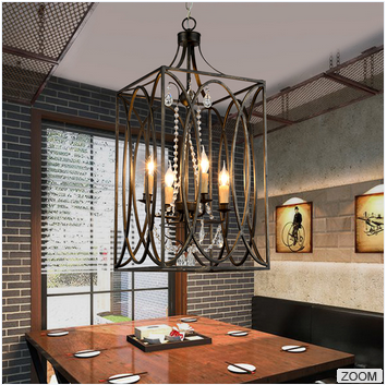 antique design indoor home decorative hanging lamp vintage industrial iron metal rectangular cage chandelier pendant light