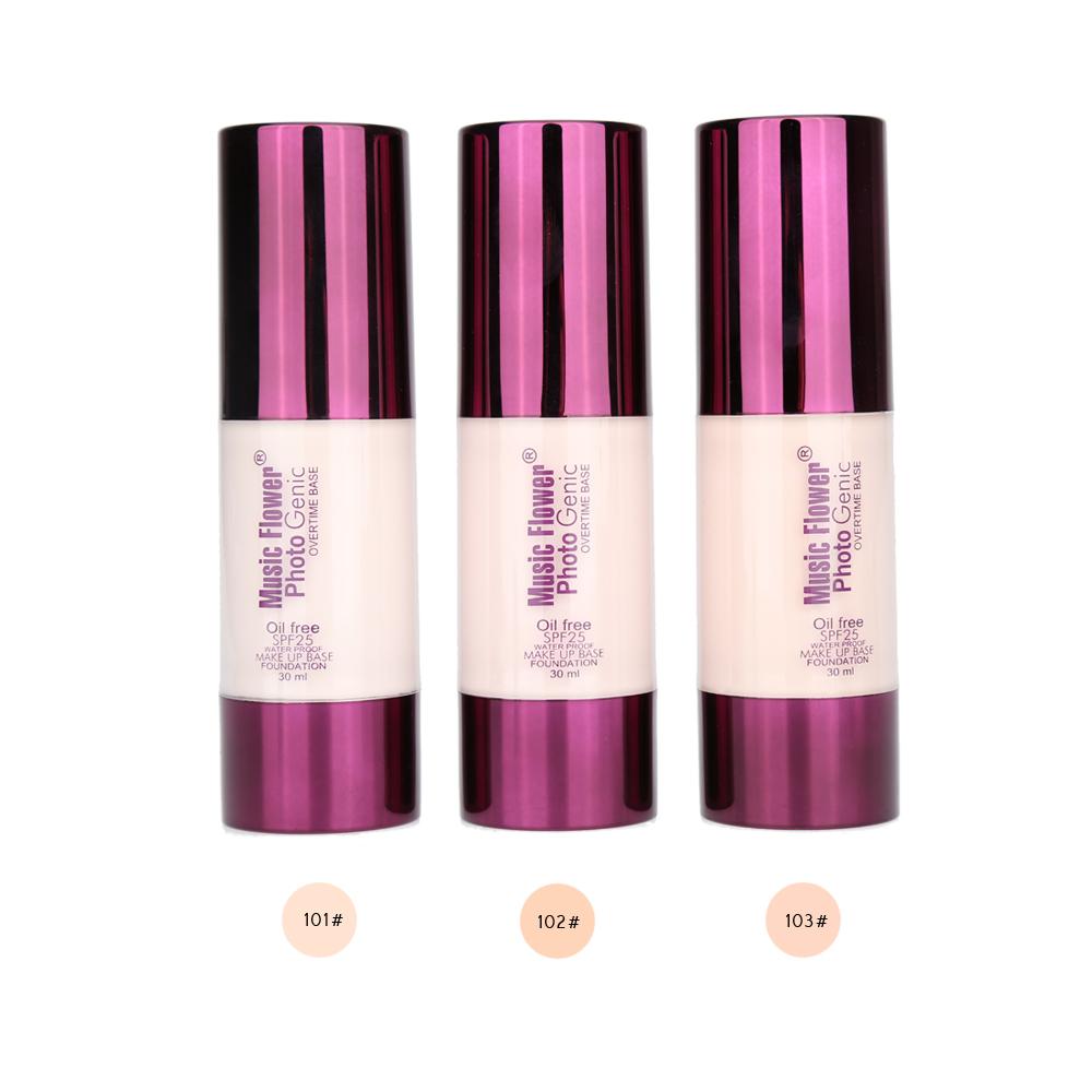 MUSIC FLOWER SPF25 Liquid Whitening Power Foundation Makeup Base Waterproof Cosmetic