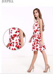 Summer New Women Sexy Halter Print Dress Long European and American V-Neck Sleeveless Dress
