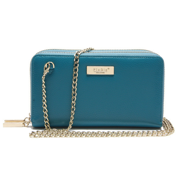 CW911-001 Practical two layer famous brand real leather handbags and wallets with metal chain