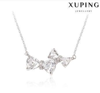 necklace-00165-gemstone silver jewelry cz lovely bowknot necklace