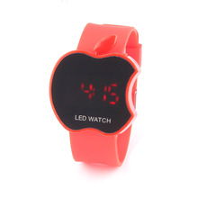 Factory supply custom mirror face apple shape kids led digital watches