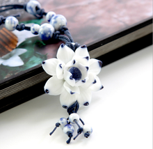 Chinese style 3D Ceramic Flower Pendant women Necklace