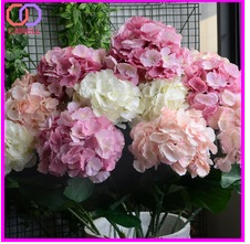 cheap wholesale latex coated silk bouquet artificial white hydrangea flower for wedding