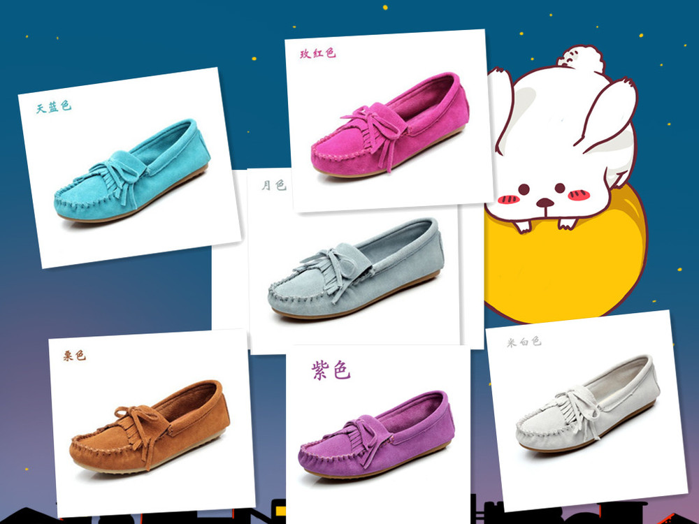 New style women's casual shoes Nubuck leather moccasin shoes