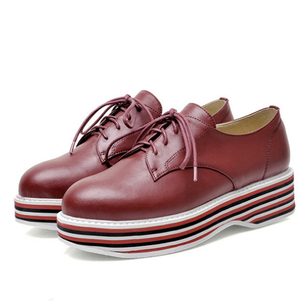 New arrival fashion stylish height increase lace up flatform casual shoes for women