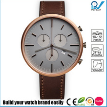 PVD rosegold stainless steel case chronograph with date multifunctions italian genuine leather strap watches