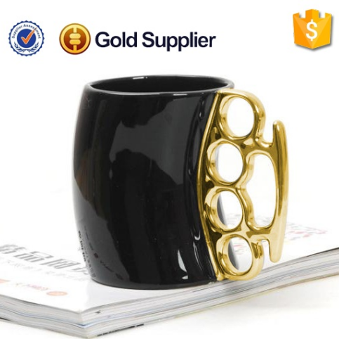 2016 cheap high quality ceramic mug with metal handle