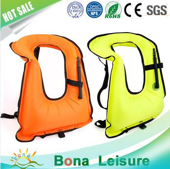 210 Denier Nylon TPU Coating Snorkel Inflatable Swim Safety Life Vest For Adult