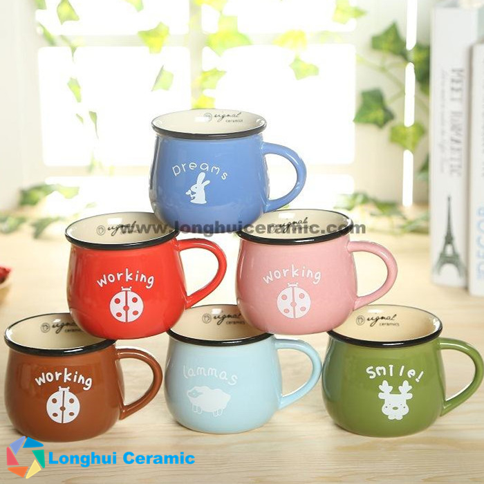400cc color glazed big belly ceramic milk mug