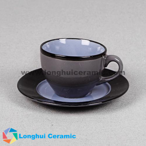 Colorful glazed ceramic coffee cup&saucer