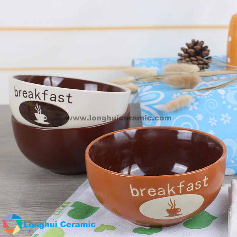 5.5'' coffee design ceramic breakfast bowl