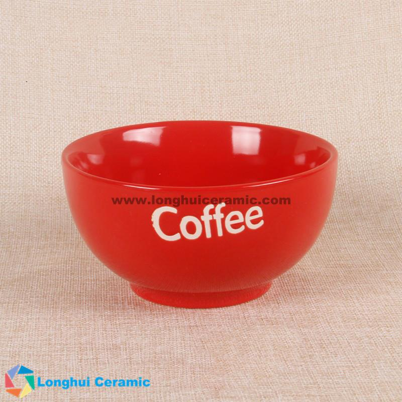 5'' Custom glossy vibrant color ceramic coffee bowl with your logo imprinted