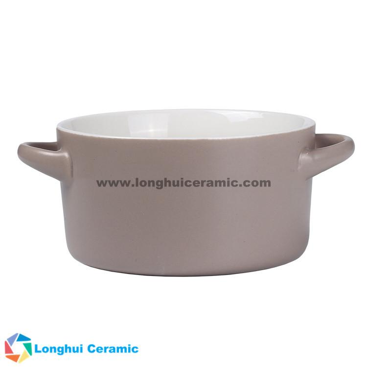 Custom two-tone ceramic soup bowl with two ears