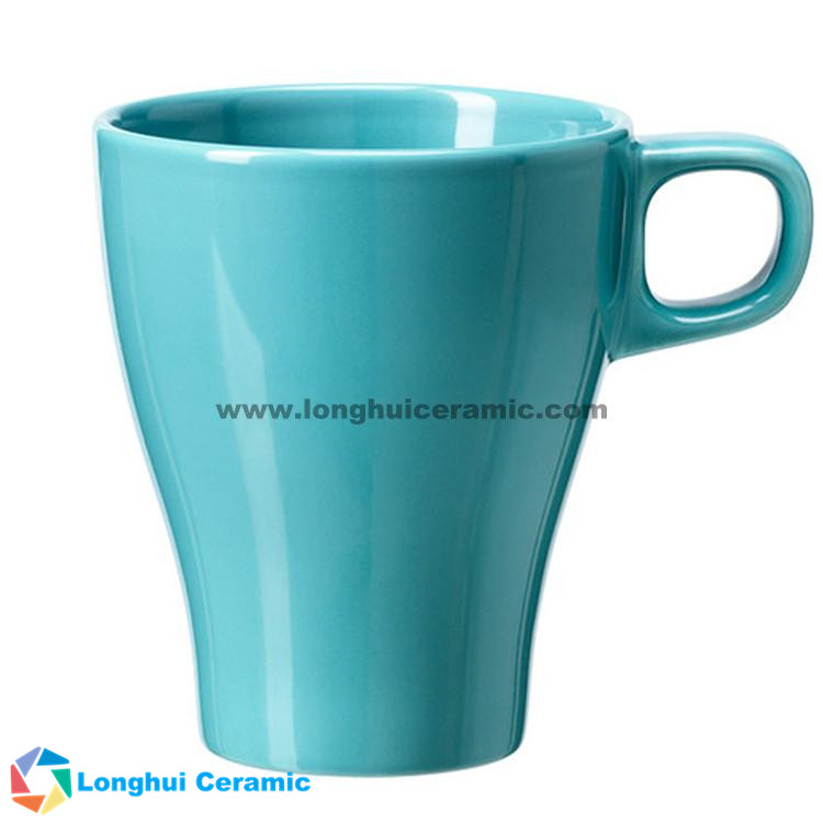 Elegant solid glaze ceramic coffee mug with small handle