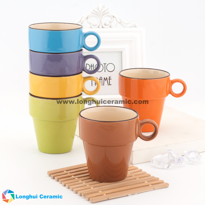 8oz stackable ceramic coffee mugs